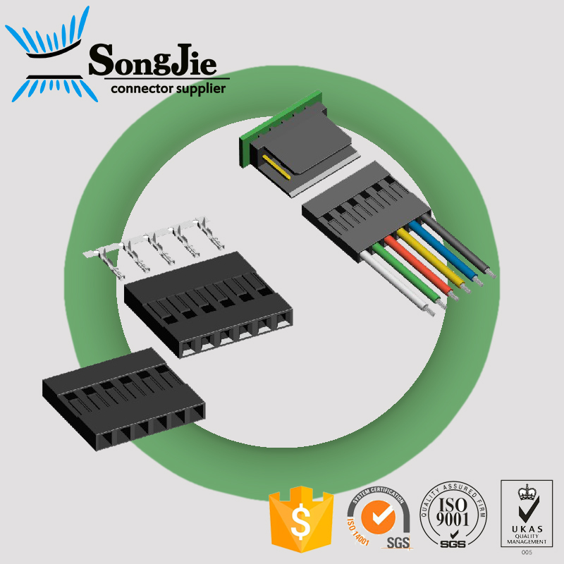 equivalent molex electric wire 32-Pin female connector 2.54mm pitch mounting on cable wire-board adapter, black, white standard