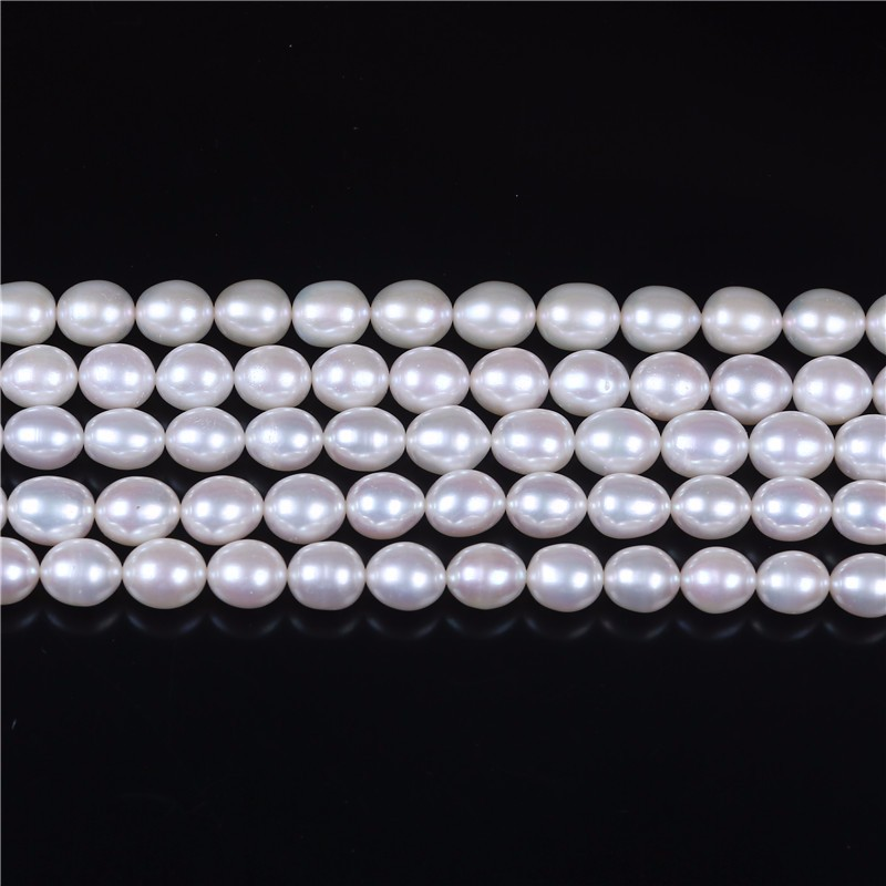 AAA Grade High Quality 8-9mm Rice shape white freshwater pearl 16-inch strand