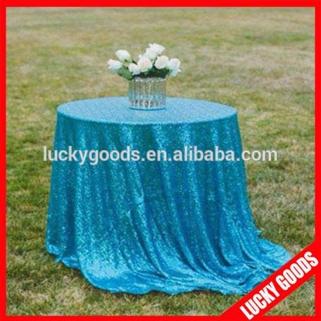 wedding favor luxurious blue glitter table cloth for sale