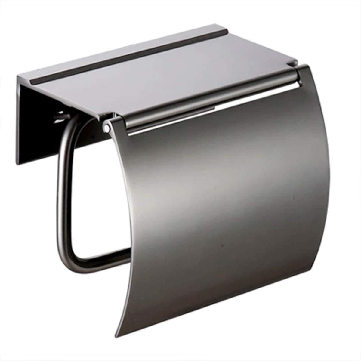 Q&F Wall Mount Toilet Paper Holder With Cover,Bathroom Tissue Holder With Mobile Phone Storage Shelf-waterproof,Moisture Proof,Aluminium-Silver gray