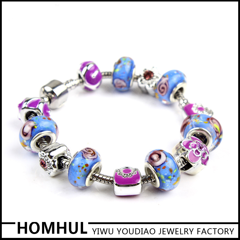 Factory Price Purple Glass Metal Charm Bracelet Women Bracelet Wholesale
