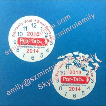 Custom destructible warranty labelsround date warranty stickers