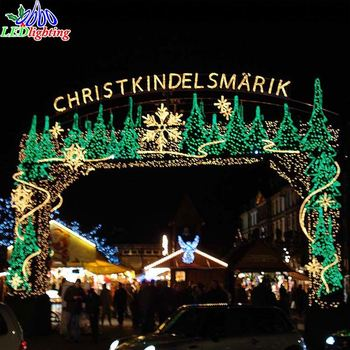outdoor large commercial christmas decoration led santa claus bow arch christmas light display for shopping mall