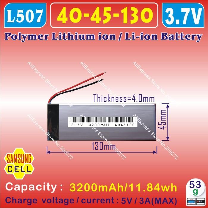 [ L507 ] 3.7 В, 3200 мАч, [ 4045130 ] plib, полимер литий-ионный / литий-ионный аккумулятор для планшет пк, mp3, MP4 ; зарядное устройство ; сотовый телефон, pipo, куб