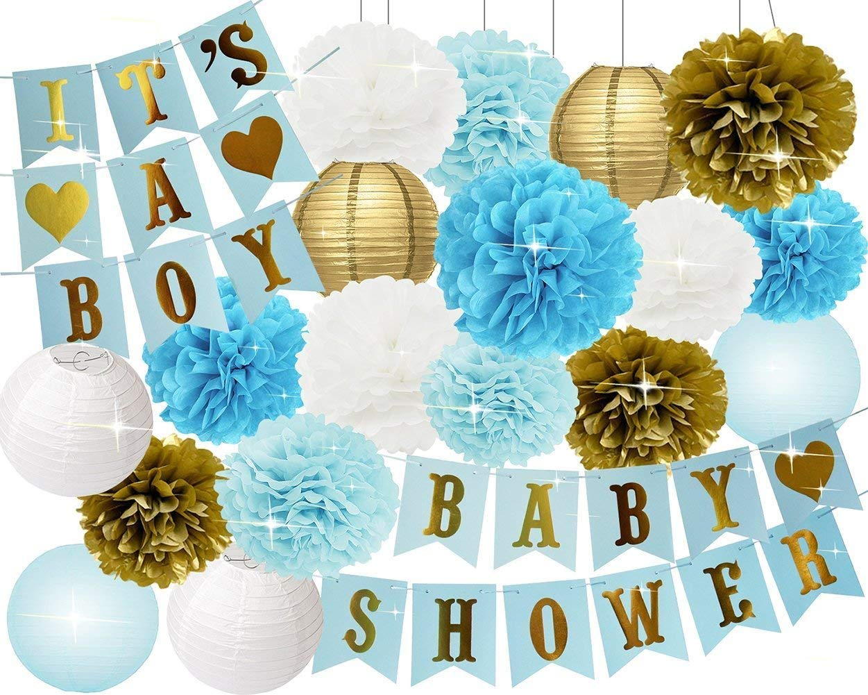 Baby Shower Decorations for Boy Baby Boy Baby Shower Party Decorations Blue Baby Shower It's A BOY Banner Tissue Paper Pom Poms Paper Lanterns Elegant Blue Decorations Kit