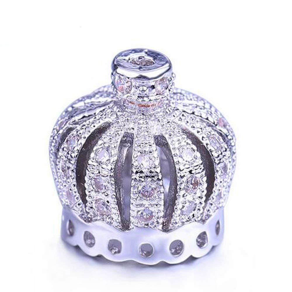SR BGSJ Jewelry Making Findings Micro Inlay Crown Tassel Accessories End Cap Zircon Dangle Drop Pendant Beads 6 Pcs per Bid