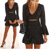 Black Ruffled Short Dress Cut Out Flared Sleeves Home Casual Mini Dress
