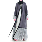 summer new women casual muslim clothing chiffon fabric pleated gray abaya open kimono dress