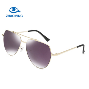 ZHAOMING Brand New Arrival Man Women Twin-Beams Aviation Classic Metal Frame Fashionable Mirror Oval Sunglasses
