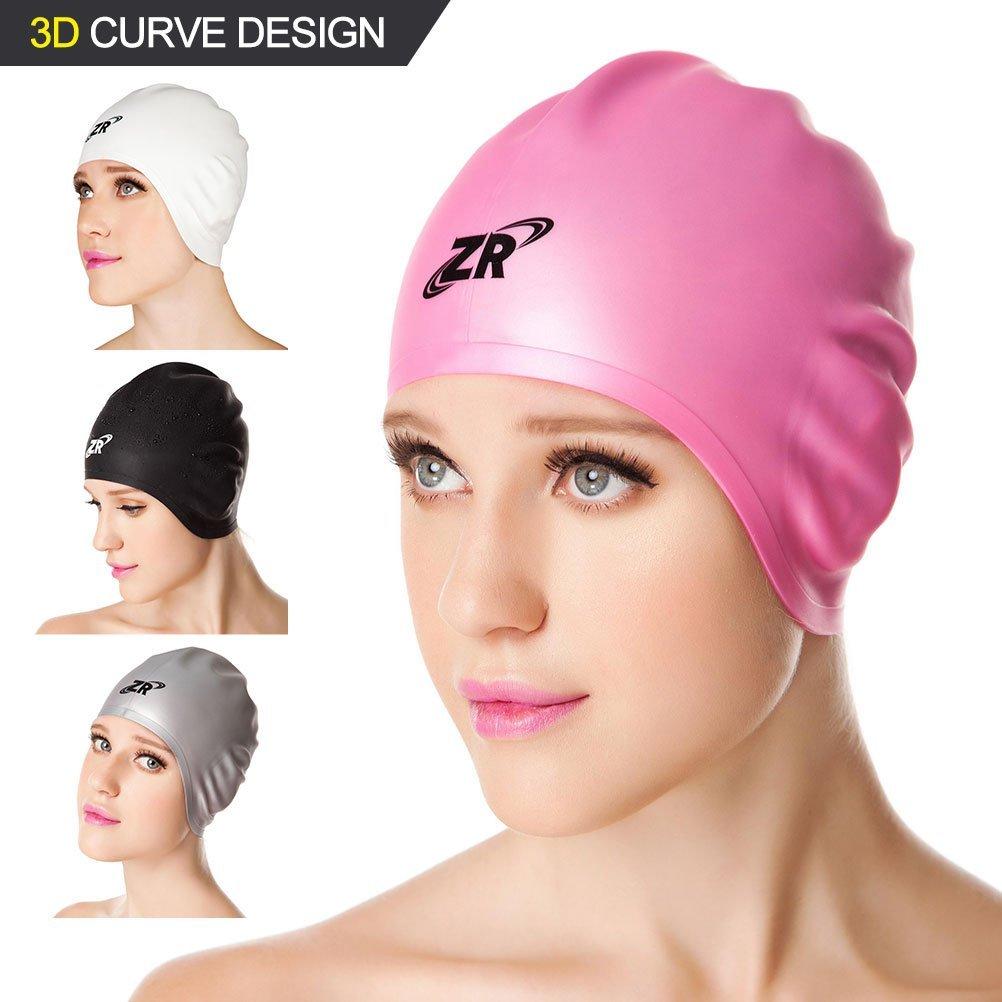 0e49f65e073 Silicone Swim Caps, ZIONOR Premium 3D Designed Latex-free Wrinkle-free  Waterproof One