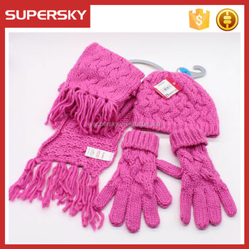 380bd6ff a08 women hat glove scarf set girl knit hat scarf mitten set cable knitted  beanie scarves