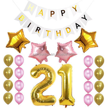 21st birthday party balloon decorations happy birthday banner design