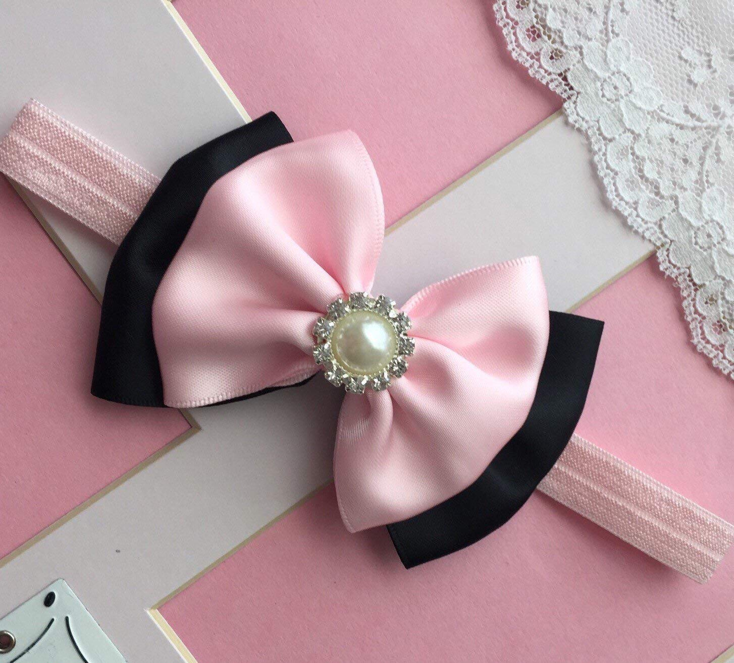 a517792f0567 Get Quotations · Black And Light Pink Baby Headband