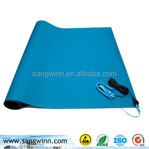 2mm Blue color ESD natural rubber antistatic floor mat for work bench top