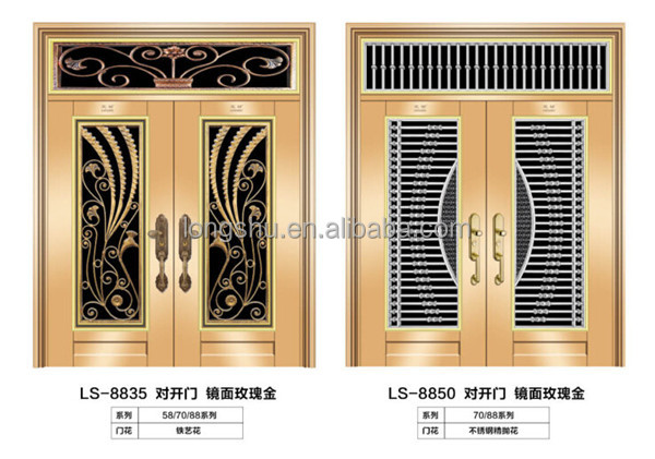 Stainless steel security door with indian main door for Main gate door design