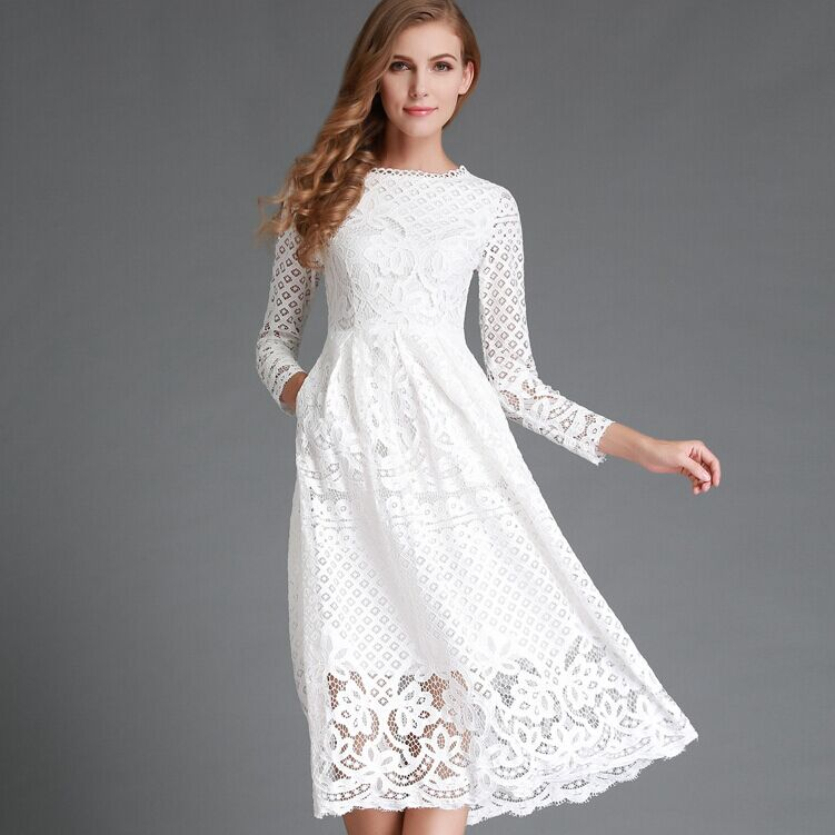 cbdd4a4c77 ... Neck Lace Long Sleeves Sexy Short. New 2016 Summer Fashion Hollow Out  Elegant White Lace