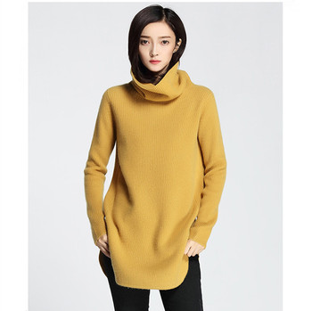 c2473b95b434a Women Curved Hem Cashmere Knitted Turtleneck Pullover Sweater ...