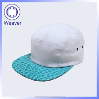 Fashion 100 Polyester 5 Panel Baby Hat Snapback Cap / Leather Design 5 Panel Blank Cap
