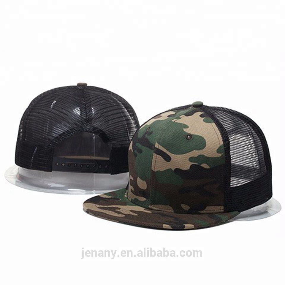 86950da9c514b Custom Camo Neon Mesh Back Blank Flat Cheap Cap Plastic Snapback hats