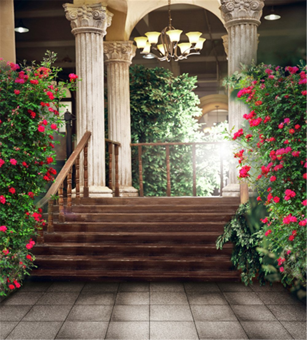 Vintage Stone Floor House Red Flower Photography Backdrops Photo Props Studio Background 5x7ft