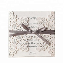 Elegant Designs Laser Cut Wedding Invitations Cards with Ribbon