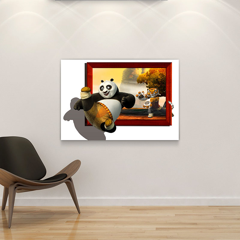 hot sale canvas painting 3D kungfu Panda wall art relief painting for home living room hotel cafe office wall decoration