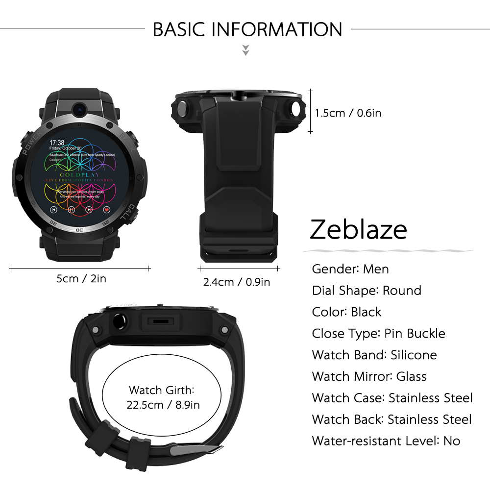 Zeblaze Thor S 3G Wifi Smart watch Android 5.1 1G/16G Wrist Phone GPS SIM Card Heart Rate Monitor Smart watch with 5.0 MP Camera