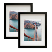 16x20 Contemporary Black Picture Frames - Wide Molding - Wall Mounting Ready Made Photo Frames