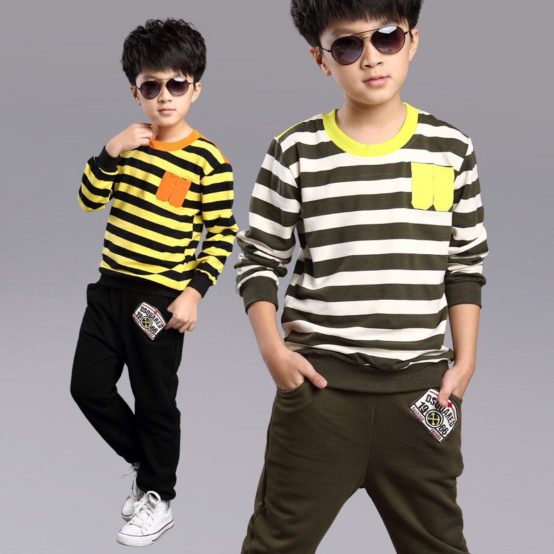 Kids Striped Clothes Boys Baby Boy Cotton Striped Tracksuit Set Boy Thanksgiving Clothing Set Fashionable Baby