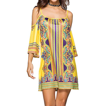 ae4f8f22715a1 Women Summer Floral Print Cold Shoulder Africa Long Sleeve Maxi Dress