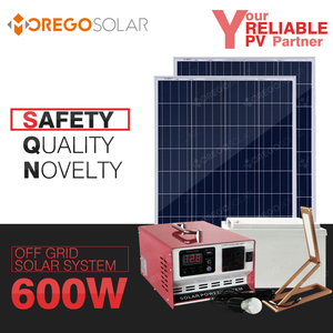 Moregosolar 400w 600w off grid portable ac dc solar power system with solar inverter with built-in charge controller