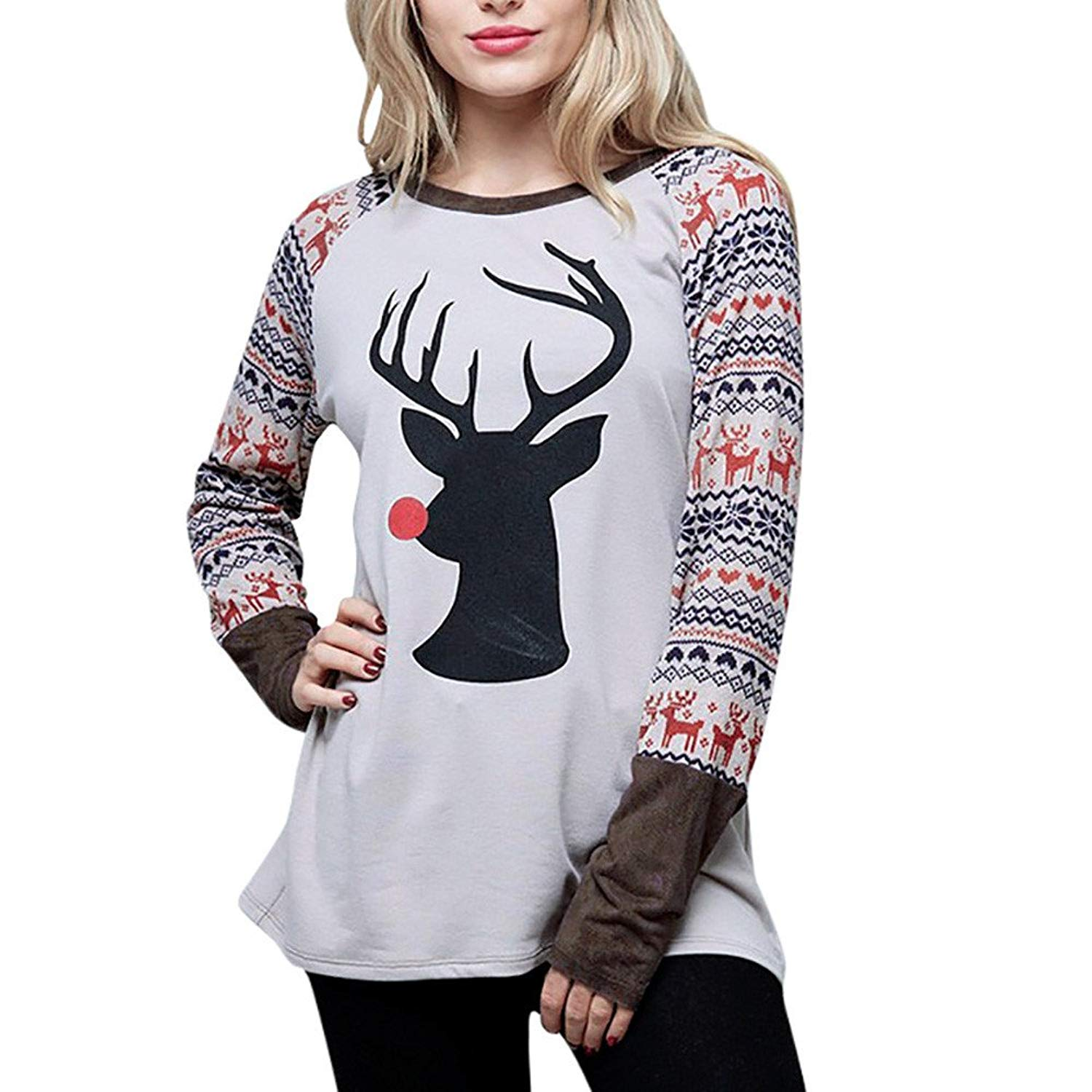 Elk Print Blouse,Han Shi Women Christmas Patchwork Crewneck Long Sleeve Loose Shirt Tops