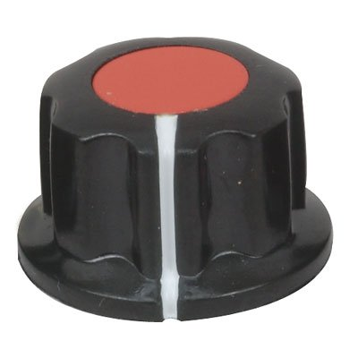 "Jameco Valuepro JK-904A-R Knob, 1/4"" Shaft, with Set Screw, 0.47"" H x 0.78"" Diameter, Black/Red (Pack of 5)"