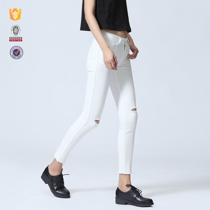 2017 new fashion leggings damaged white d jeans for lady