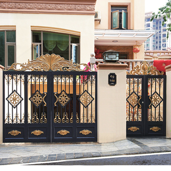 Hs Lh022 Black Color Beautiful Pillar Home Gate Arch Design