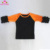 Wholesale raglan tee Kids custom 3/4 sleeves ruffle raglan baseball red green stripe tee shirt