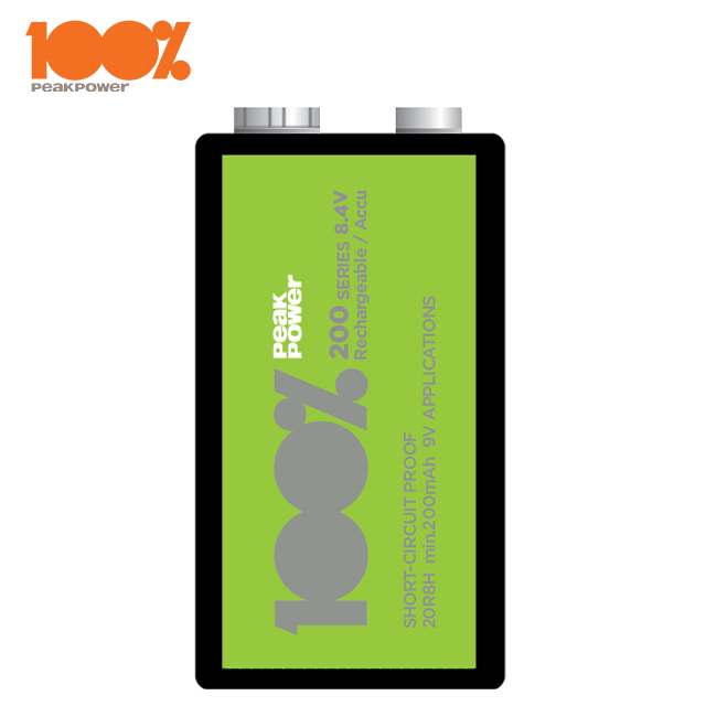 100%PeakPower Rechargeable Batteries 9V 200mAh