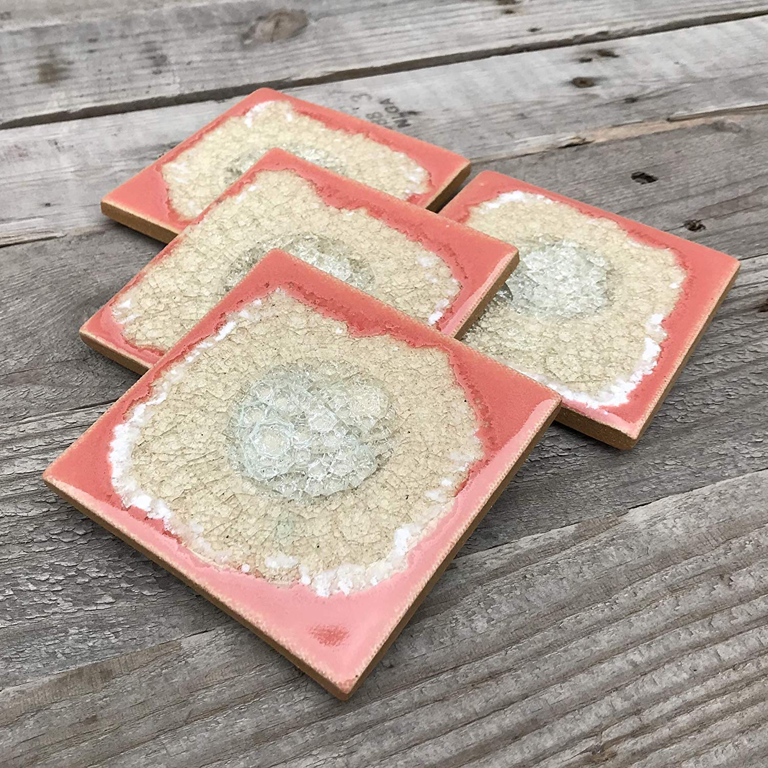 Geode Crackle Coaster Set of 4 in CORAL: Geode Coaster, Crackle Coaster, Fused Glass Coaster, Crackle Glass Coaster, Agate Coaster, Ceramic Coaster, Dock 6 Pottery Coaster
