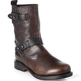 Rag & Bone Distressed Leather Mid-Calf Motorcycle Boots - Cognac
