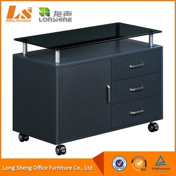 Black Glass Desktop Lateral Mobile Filing Cabinet With Metal Handles