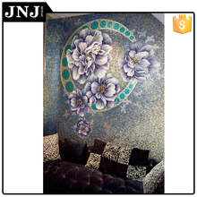 Flower Blue Glass Mosaic Mural Art Picture For Wall Decoration