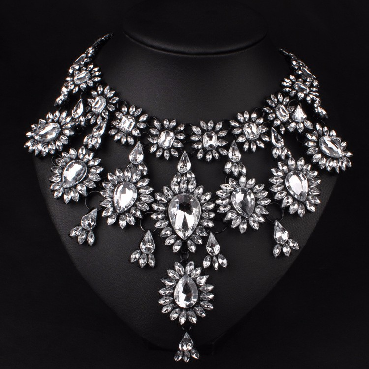 bling silver look big l follow like dress statement collared jewels necklace jewelry diamond collar