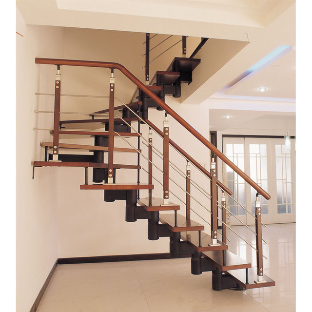 House Straight Stair/new Style Straight Stairs/indoor Wooden Tread Glass Railing  Staircase