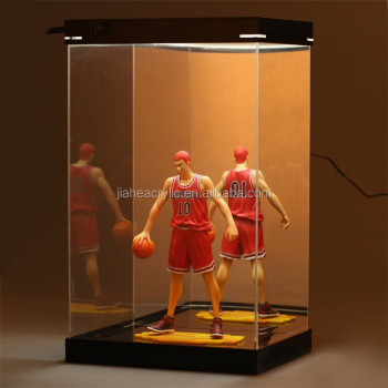 Perspex plexiglass led acrylic lighted display case for for Hot toys display case ikea