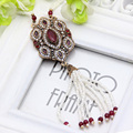 Hot Fashion Luxurious Beaded Tassel Vintage Turkish Women Necklaces Gold Plated Jewelry Engagement Party Necklace Festival