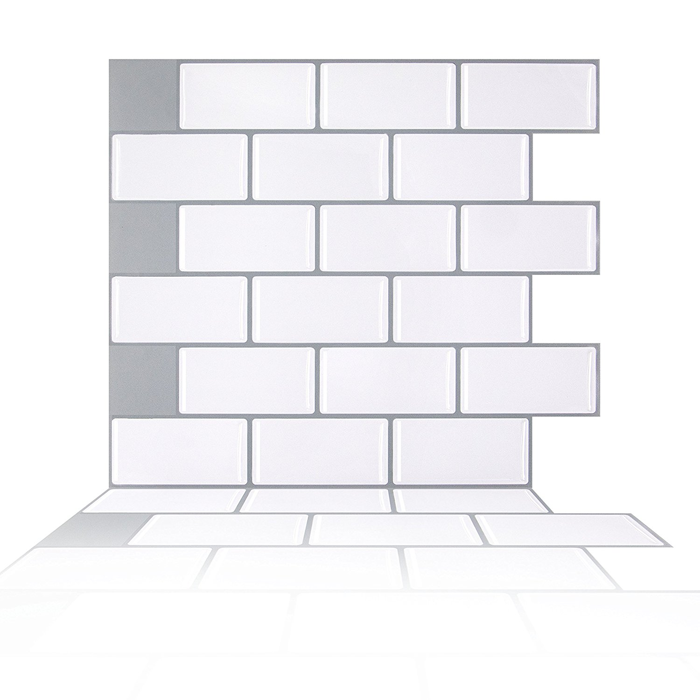 - Buy Peel And Stick Tile Backsplash, Brick White Subway Tile