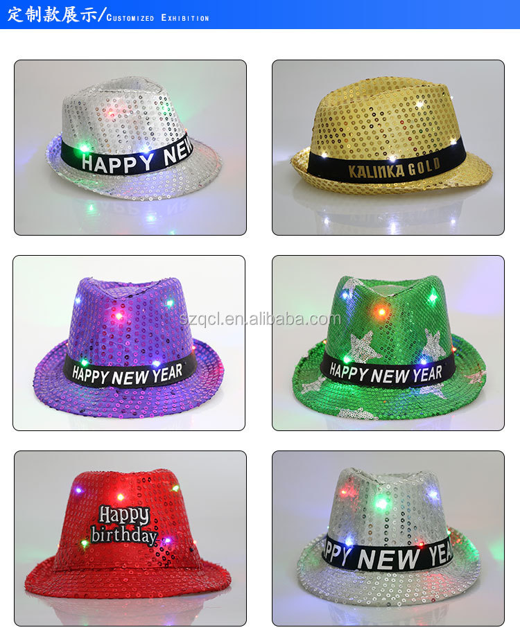 Ultra Bright LED Light Up Glitter Sequins Hat Flashing Jazz Dancing Hat Cap Fedora Hat for Women Men Unisex