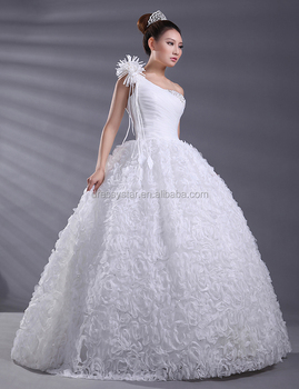 European Design White Ball Gown Sequined One Shoulder Wedding Dresses Beaded China Princess Cut Crystal