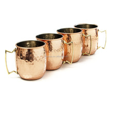 Hot Selling Moscow Mule Hammered Copper Barrel Mug with Brass Handle,16 Ounce