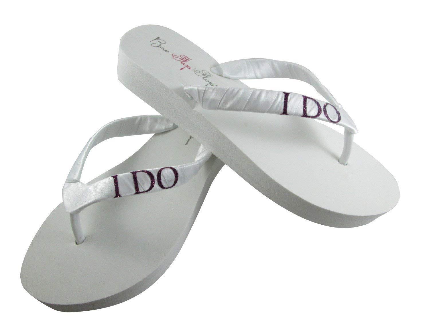 92beab25dd7b Get Quotations · I DO Glitter Bridal Flip Flops in Ivory or White   Custom  Sparkle Color